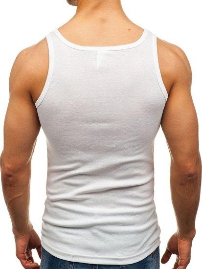 Bolf Herren Unterhemd ohne Motiv Weiß  C10008