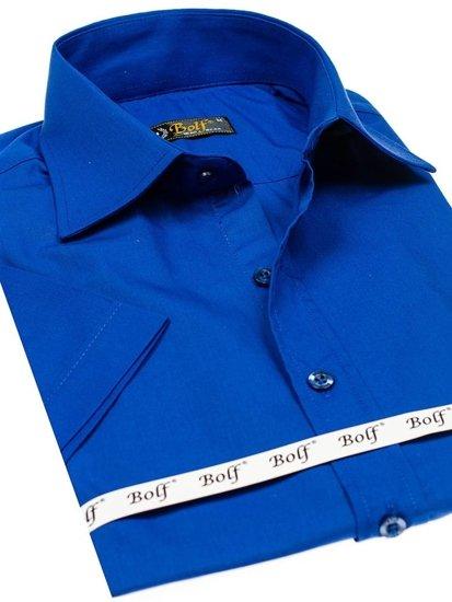 Bolf Herrenhemd Elegent Kurzarm Mittelblau 7501