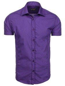 Bolf Herren Hemd Elegant Kurzarm Violett  7501
