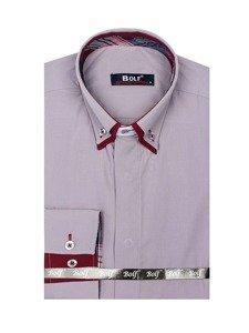 Bolf Herren Hemd Elegant Langarm Grau  5895