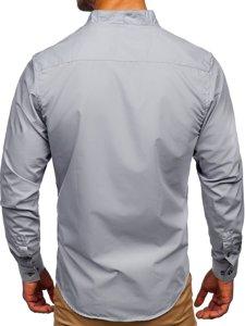 Bolf Herren Hemd Langarm Grau  5720