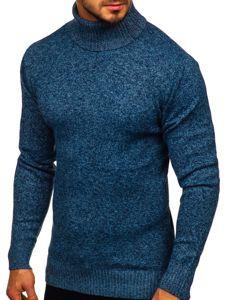 Bolf Herren Pullover Rollkragen Blau  H1933