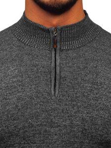 Bolf Herren Pullover mit Stehkragen Schwarz  8260