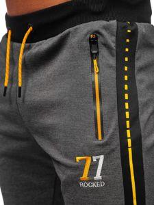 Bolf Herren Sporthose mit Print Schwarzgrau  AM96