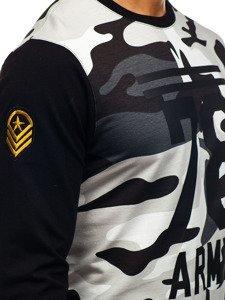 Bolf Herren Sweatshirt mit Motiv Camo-Grau  0746