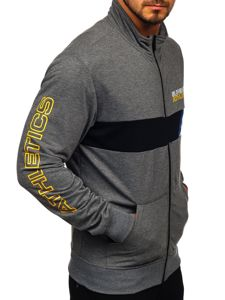 Bolf Herren Sweatshirt mit Motiv mit Reißverschluss Schwarzgrau  JX9829