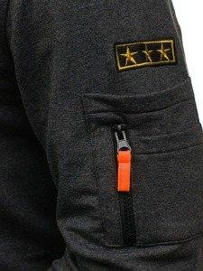 Bolf Herren Sweatshirt ohne Kapuze Anthrazit  0733