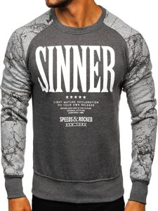 Bolf Herren Sweatshirt ohne Kapuze Anthrazit J39