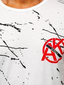 Bolf Herren T-Shirt mit Motiv Weiß  KS1973
