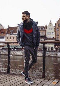Styling Nr.177-Übergangsjacke,Sweatshirt mit Kapuze,Baggyhose,Schuhe